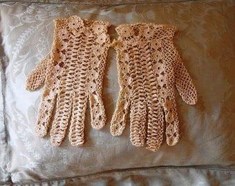 SALE Very lovely Antique French GLOVES IRISH Crochet