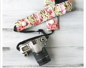 ruched camera strap cover - peacock feathers in pink
