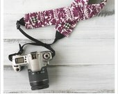 ruched camera strap cover - purple damask/houndstooth