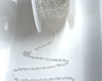 3FT (3x2mm)  Sterling silver, flat cable chain,