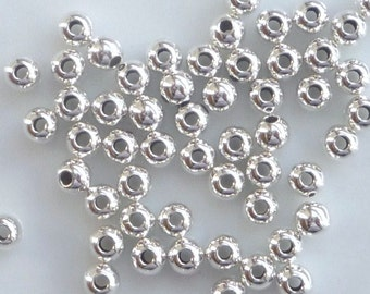 20 pcs   3mm, seamless Sterling silver round  spacer beads ,