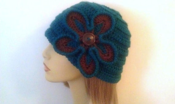Teal Cloche Hat with Teal and Brown Flower