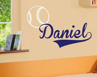 Personalized custom name sport baseball ball vinyl decal kids wall sticker - 049