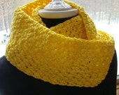 Crocheted yellow ribbon infinity scarf - BearMtnCrochet