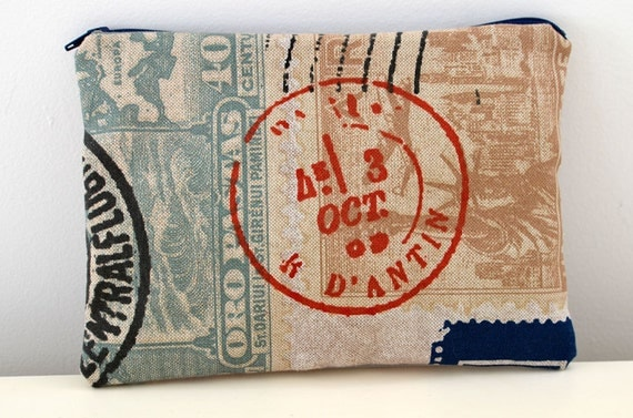Zipper Pouch in Airmail- postal postage stamp mail postmark cosmetic bag clutch travel jewelry case organizer