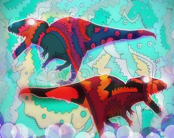 Dinosaur Collaboration - 11x14 Abstract, Modern, Affordable, Unique, Dinosaurs, Red, Blue, Pastel, Bubbles, Flowers, Art Print