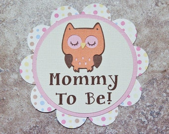 Owl Theme Button Pin- orange pink brown polka dots- for Baby Shower or Birthday Party (Quantity 8)