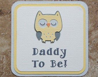 Owl Theme male Button Pin- yellow and grey- for Baby Shower or Birthday Party Co-Ed (Quantity 1)