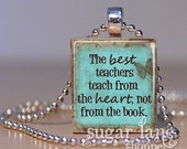The Best Teachers Necklace - (Brown, Aqua Teal Blue) - Scrabble Tile Pendant with Chain