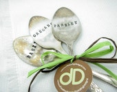 Garden Markers - Hand Stamped Vintage Spoons, Oregano, Parsley, Basil, Shabby Chic Herb Markers, Featured in Australia's Women's Fitness Mag