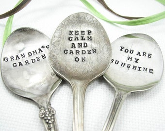 Spoon Garden Markers - Stamped Vintage Silverware, Plant Markers, Custom Sayings, Personalized Garden Decor, Set of 3, 006GDN