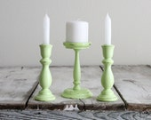 Trio of green candle holders