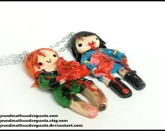 Custom Zombie BFF Set (you become the zombie!), original gift, stocking stuffer