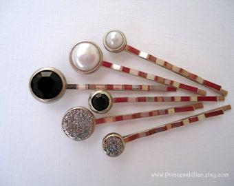 Prom Cabochon hair pins - Classic black silver white pearls and glitters decorative traditional elegant minimalist headpiece TREASURY ITEM