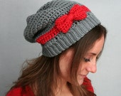 Slouch Hat with Bow - Grey Slouch Beanie
