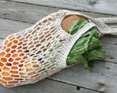 Farmers Market Bag - Large Reusable Cotton Grocery Tote - Natural Tweed - String Bag