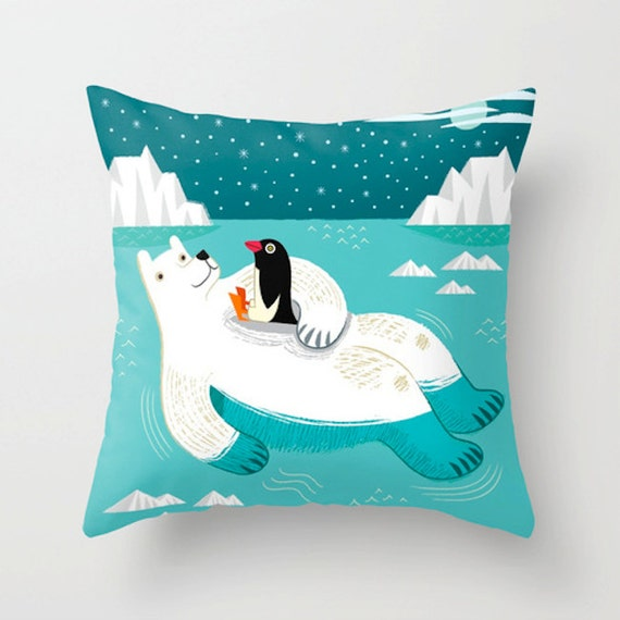"Hitching a Ride - Polar Bear and Penguin - Children's / Nursey decor - Throw Pillow / Cushion Cover - (16"" x 16"") iOTA iLLUSTRATION"