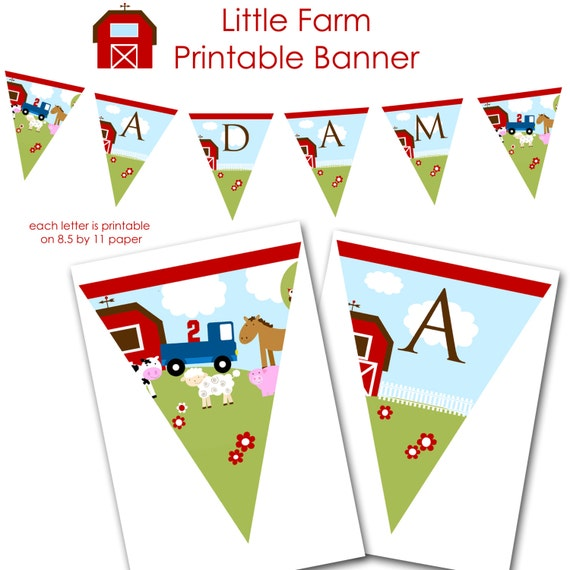 items similar to farm birthday banner personalized  printable file with little blue truck on etsy