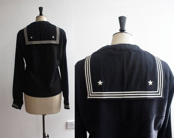 Vintage 1940s US Navy Uniform Nautical Sailor Jumper Top Size 10- 12