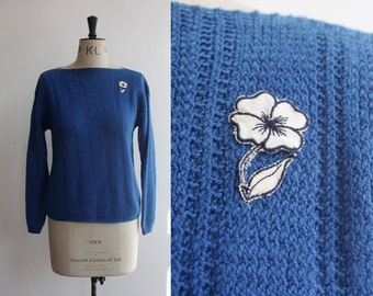 Vintage 1970s 1980s Blue Wool Hand Knit Jumper Size S- M