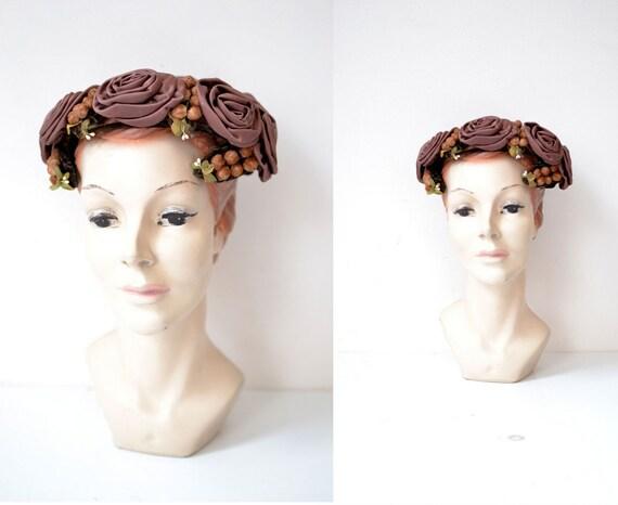 1960s  Floral Fascinator Hat / 60s Mauve Rosette Garland