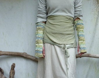 SALE Waterlily Warmers, hand knitted watery green, blue and cream fingerless gloves, arm warmers, extra long, cable stitch