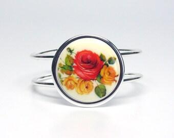 Adjustable Vintage Rose Bracelet Cuff