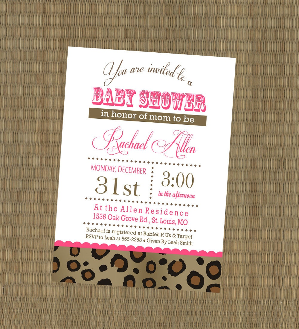 printable cheetah baby shower invitation by ethreedesignstudio