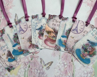 Tea Cups In Paris set of 8Gift Tags No.310