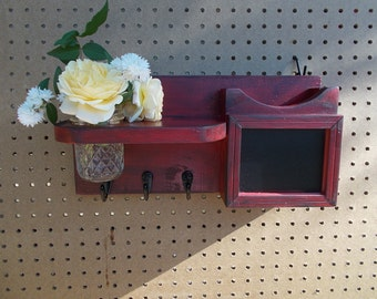 Mail Organizer/Chalkboard Message Center/Coat Hook Rack
