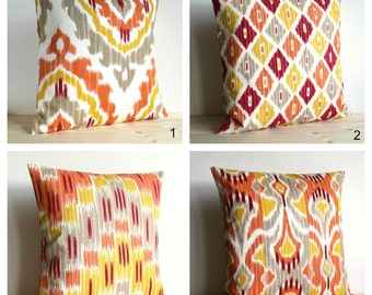 Orange and Gold, Ikat Pillow Sham, Ikat Cushion Cover, Pillow Covers, Ikat Throw Pillows, Accent Pillows - Ikat Spice Collection