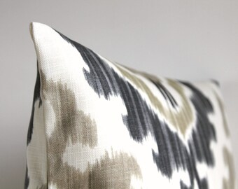 Grey and Beige Ikat Pillow Cover - 16 x 16 Ikat Cushion Cover - Ikat Tribal Neutral
