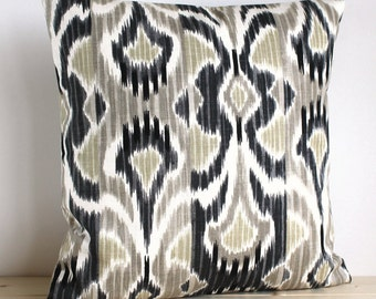 Grey and Beige Ikat Cushion Cover - 16 Inch Ikat Pillow Cover Pillow Sham - Ikat Wave Neutral