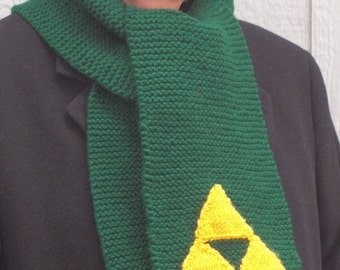 Legend of Zelda Inspired Green Hand Knitted Link Scarf with Triforce