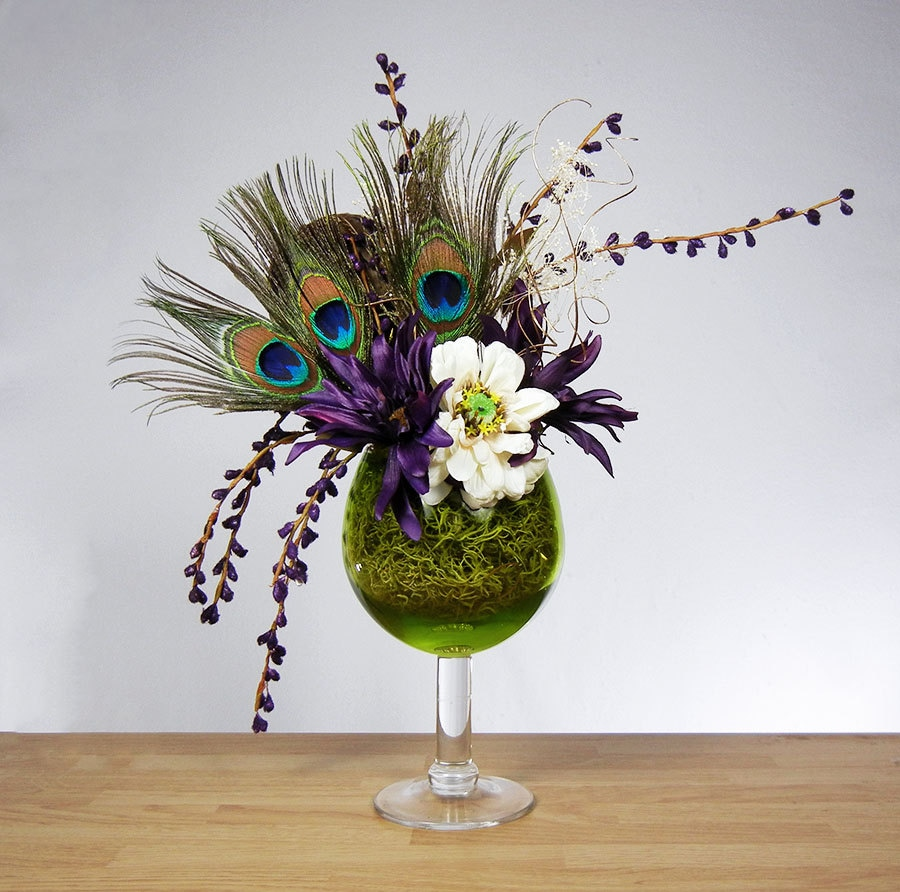 Peacock Feather Floral Arrangement With Purple By Rachelsheart