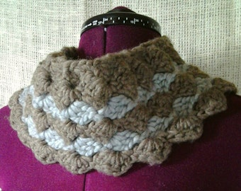 Brown and Grey Cowl Neck Crocheted Scarf