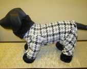 Couture Small Dog Pajamas - Ready to Ship - Houndstooth with Faux Fur - Item 9718