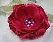 Dog Hair Bow - Pink Satin Flower