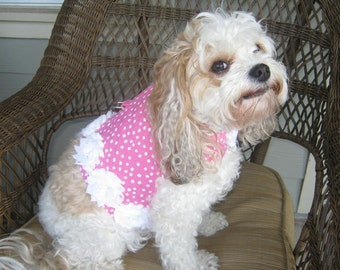 Couture Dog Harness Vest - Any Size - Pink Dots