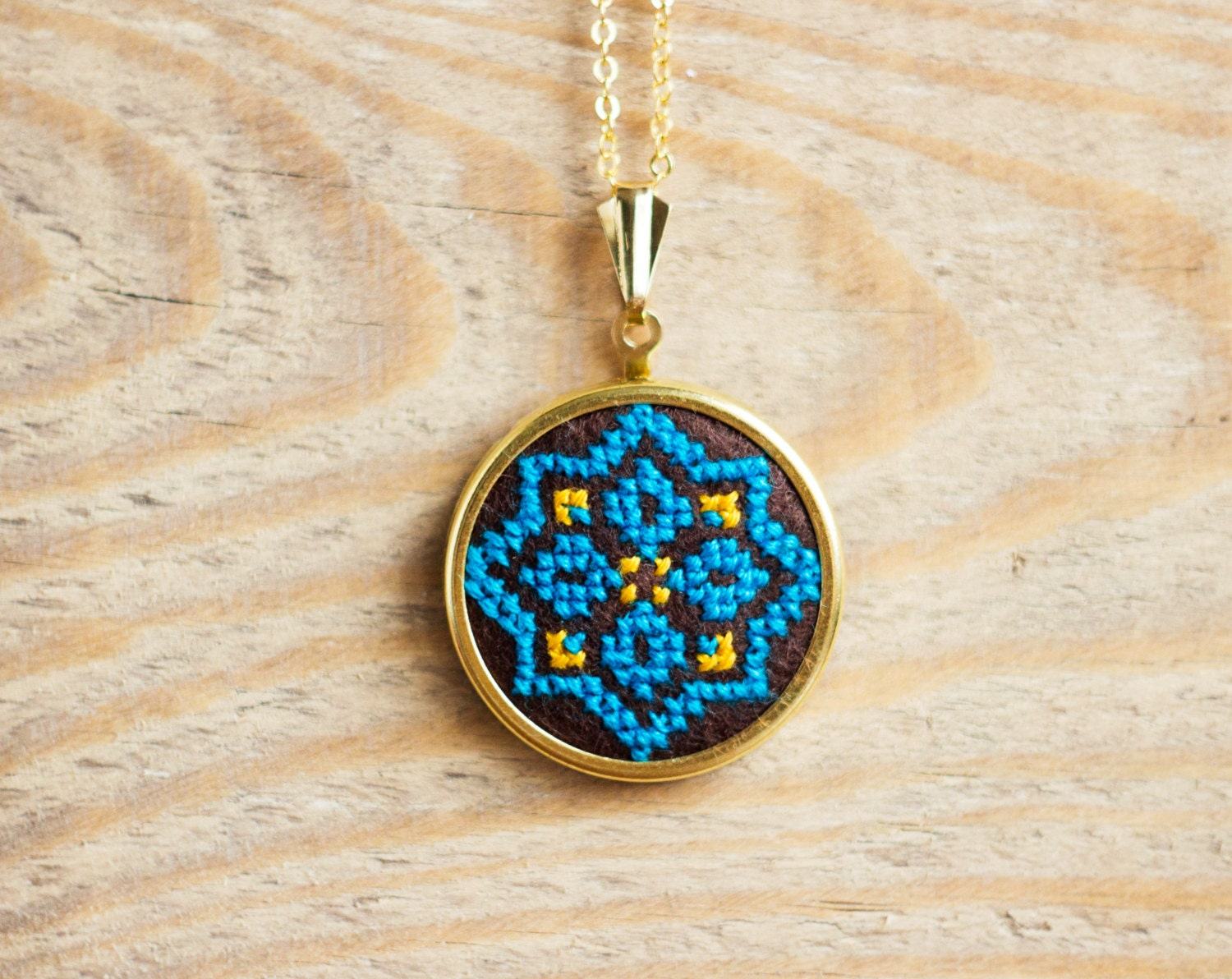 Items similar to ethnic necklace hand embroidered cross