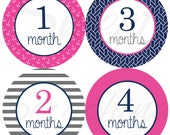 Monthly Stickers for Girls - Nautical Girl- Months 1 to 12 - Hot Pink and Navy Blue - Etsykids Team - Etsy Baby - Chevron - Babys First Year