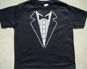 Wedding Tuxedo shirt child size Tee shirt - Ringbearer Rehearsal Shirt - super cute