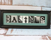 Any Size Custom Name Frame - Alphabet Letter Photography - Choose Your Frame, Matting and Photos - Custom Home Decor