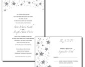 Star Themed Print Your Own Wedding Invitations - Black and Silver Stars -Wish Upon A Star - Available as PDF or JPG