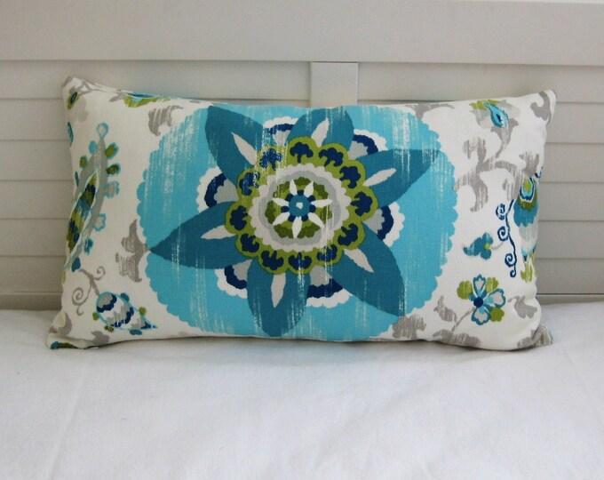 Silsila Suzani in Poolside Indoor Outdoor Lumbar Designer Pillow Cover