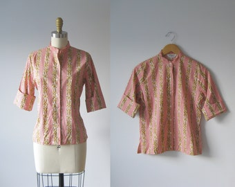 SALE vintage 1960s red stripe blouse