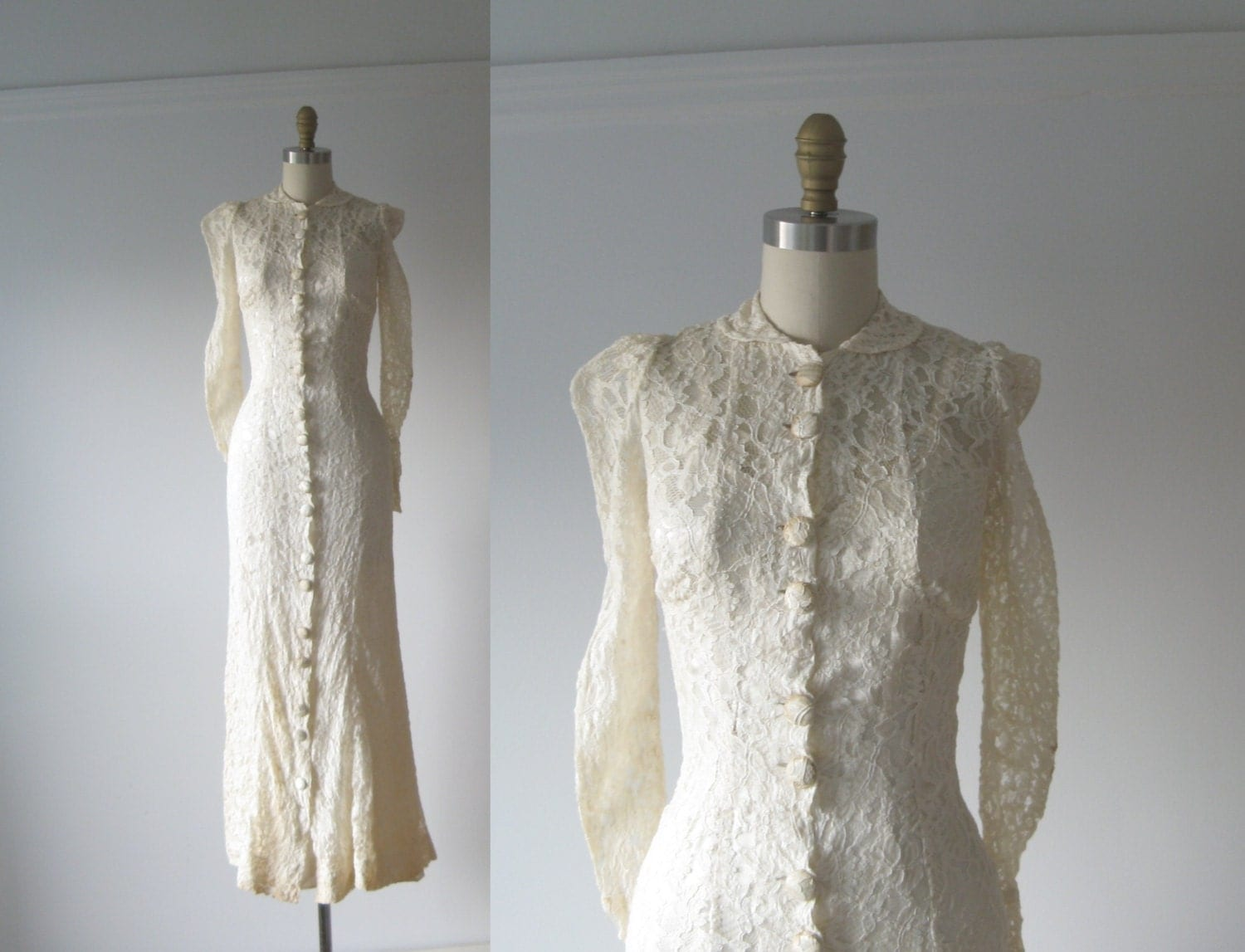 vintage 1930s wedding dress 30s lace dress. Black Bedroom Furniture Sets. Home Design Ideas
