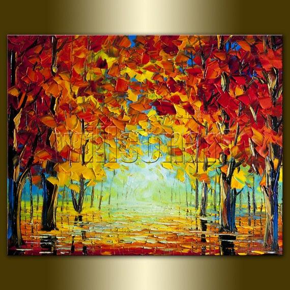 Modern Landscape Painting Seasons Autumn Textured Palette