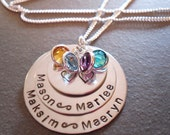 4 Name Mothers Children Grandchildren Hand Stamped Personalized Necklace