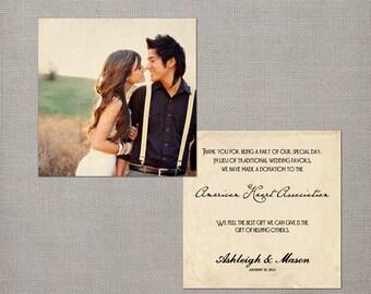 "50 Wedding Favor Donation Cards - the ""Ashleigh"""